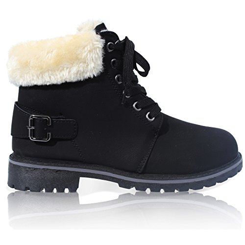 womens-lace-up-collar-fur-lined-winter-warm-ladies-ankle-boot-size-3-8