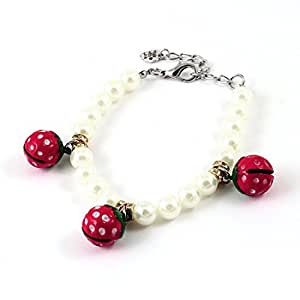 Red Strawberry Shape Bell Decor Faux Pearl Linked Pet Dog Necklace S