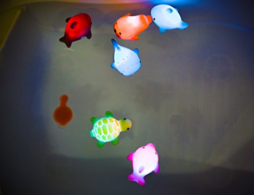 Rittle Sea Animals, Cute Floating Light-up Bath Toys (Set of 6)