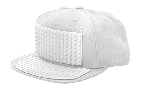 Bricky Blocks White Snapback Hat for Kids and Adults by elope