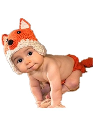 Baby Newborn Handmade Knitted Crochet Hat Costume Photograph Props Set (Fox)