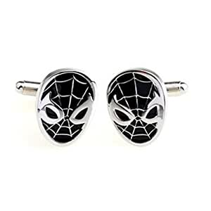 GNG Novelty Cufflinks French Shirt Cufflinks Spiderman Style Black+ Gift Bag Black Friday Deal