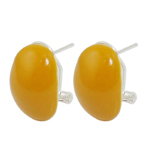 Rosallini Pair Yellow Oval Shape Studs French Clip Earrings for Woman