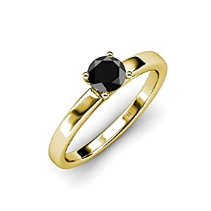 Black Diamond Solitaire Ring 0.95 ct in 14K Yellow Gold.size 7.5