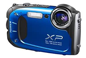 Fujifilm FinePix XP65 Waterproof 16.4MP Digital Camera Full HD Video Movies 3D Panorama Shockproof Freezeproof Dust/Sandproof (Blue)