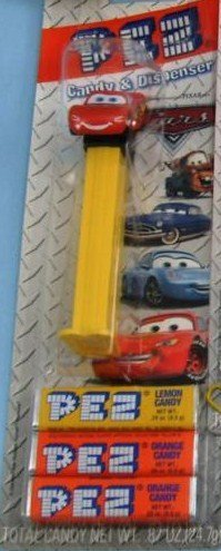 New In Package Disney Cars Lighting Mcqueen Pez Candy Dispenser And 3 Candy Refills