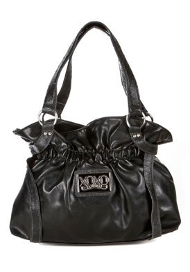 Emotion Vinyl Black Faux Leather Shoulder Bag: Black Shoulder Bag
