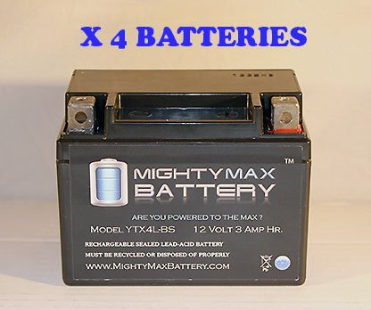 Ytx4L-Bs Replacement For Motorcycle Honda Crm 125 Battery - 4 Pack