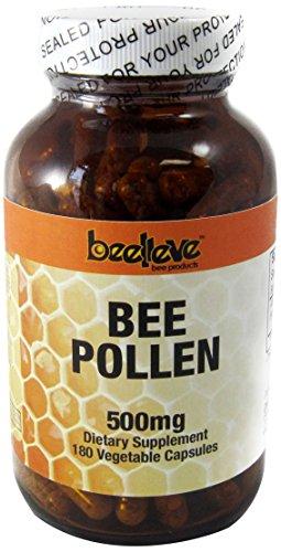 Beelieve Bee Pollen Veg Capsules, 500 Mg, 180 Count
