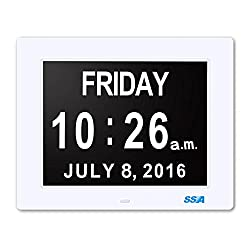 Digital Day Clock, Memory Loss Digital Calendar Day Clock, with Extra Large Non-Abbreviated Day & Month. Perfect for Seniors (White)