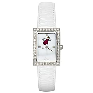 CZNSW22413Q-w-White Leather Miami Heat Watch with Cz Frame by NBA Officially Licensed