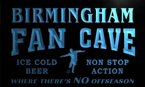 Th2147-B Birmingham Football Fan Cave Man Room Bar Beer Neon Light Sign