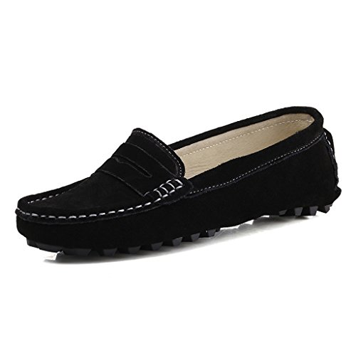 808-2hei8.5 SUNROLAN Rebacca Women's Suede Leather Driving Moccasins Slip-On Penny Loafers Boat Shoes Flats Black 8.5 B(M) US
