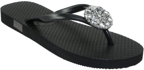a675fbabccf63 Jamie Kreitman Sand Dollar Woman s Black Silver Thong Flip Flop Sandals  Sale Jamie Kreitman Sand Dollar in Black or Silver. Stylish flip lops are  decorated ...