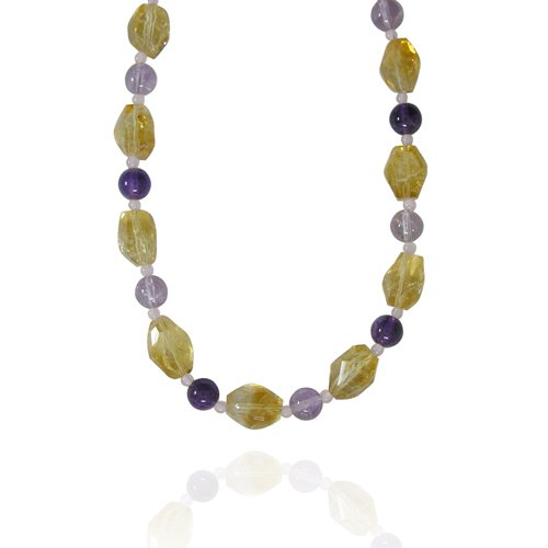 Inclusion Citrine Fancy-Shaped 12x16mm with Multi Gemstone Bead Necklace, 18+2