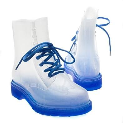 Rosette Womens SPECTRUM01 Neon Translucent Toe Ankle High Top Rainboots Lace Up Flat Platform Bootie shoes, Blue Rubber, 7 B (M) US