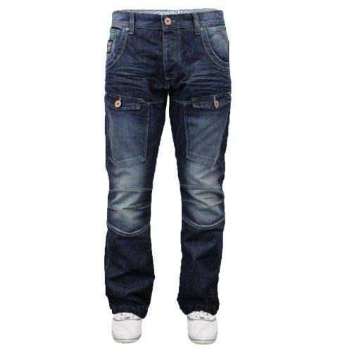 crosshatch-nuovo-controllo-jeans-slavati-scuri-cotone-denim-lavaggio-scuro-60-cotone-40-poliestere-u