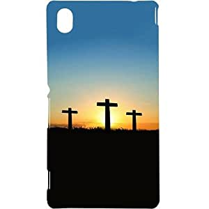 Casotec Cross Sunset Design Hard Back Case Cover for Sony Xperia M4 Aqua