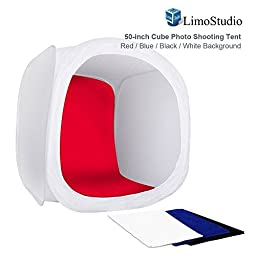 LimoStudio Table Top Photo Shooting Tent 50-inch White Cube, Collapsible & Portable, Color Backgrounds-Black White Red Blue, Commercial Product Photo Shoot, Photography Studio, AGG1466