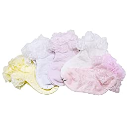 Mcupper-5Pairs Baby Girl\'s Lace Trim Fancy Sock (M 1-4 year)