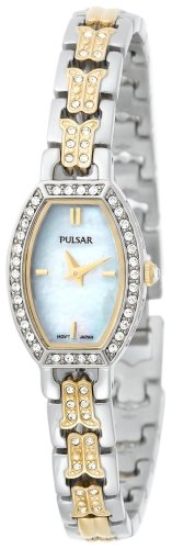 Pulsar Women's PEGC97 Crystal Accented Two-Tone Mother of Pearl Dial Watch