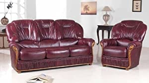 100% Bonded Italian leather Three Piece Suite 3 1 1 Full Suite available in brown / beige or burgundy       reviews and more news