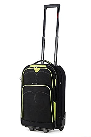 """5 Cities Lightweight Cabin Approved Hard Wearing and Light Weight Trolley Wheeled Luggage Bag (18 inch fits 50 x 40 x 20 & 21 inch 55 x 40 x20) (18"""", Black/Lime)"""
