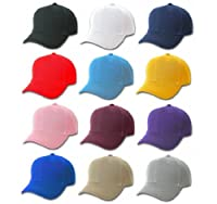 Plain Baseball Cap Blank Hat Solid Color Velcro Adjustable - Black, Blue, Green, Tan, Gold, Light Blue, Maroon, Pink, Purple, Red, Royal Blue, White by MegaDeal