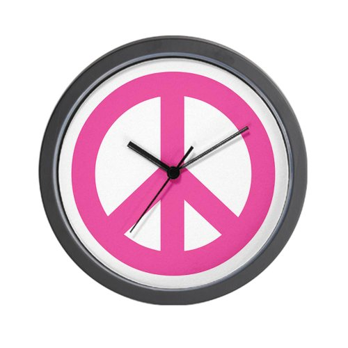 Hot Pink Peace Sign Wall Clock