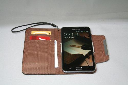Galaxy Note 用手帳風(カードポケット付)レザーケース【全3色】ブラック 液晶保護シート、おまけ付