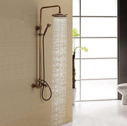 Rozinsanitary Antique Brass Shower Mixer Faucet Set With 8 Inch Shower Head + Hand Shower front-409128