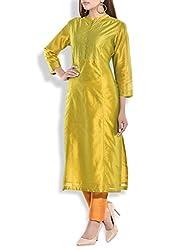 Tagaai Women's Silk Cotton Long Kurta Green - Large