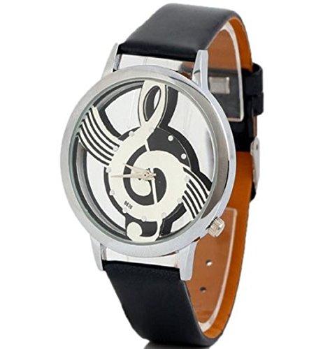 Tpt Geneva Watches Note Music Notation Leather Quartz Wristwatch(Black)