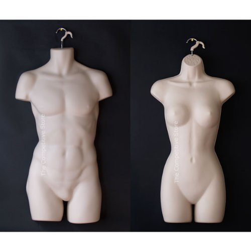Female + Male Dress Mannequin Forms Set (Hips Long) - Use For Small And Medium Sizes - Flesh