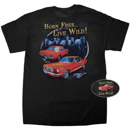 """Mustang-Maglietta a maniche corte, nero, """"born Wild Free...live!"""" nero Large"""
