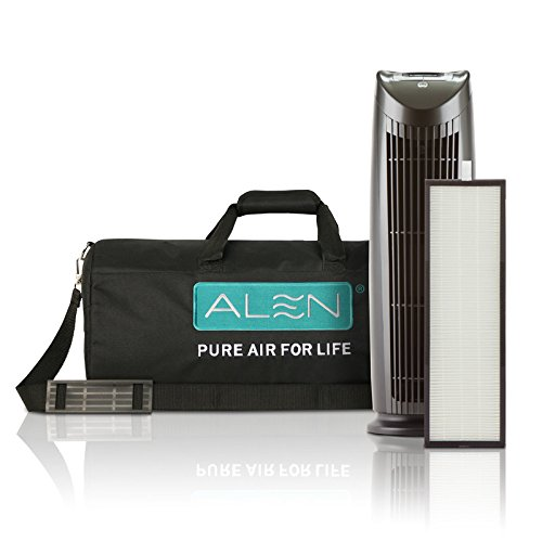 Alen T500 Tower Air Purifier Traveler Bundle with Travel Carrying Case and HEPA-Silver-Carbon Filter for Allergies, Asthma, and Light Odors in Silver & White (S&W, Traveler Bundle, 1-Pack) (W Hotel Room Scent compare prices)
