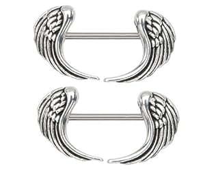 Nipple ring angel wings bar body jewelry sold for Angel wings nipple piercing jewelry