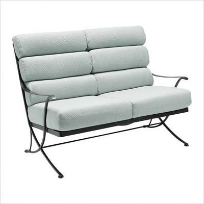 Buy Low Price Woodard Alexa Loveseat with Cushions Finish: Hammered White, Fabric: Denver – Scarlett (1K0019+-20-44C)