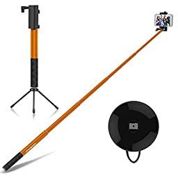 Selfie Stick, MoKo Extendable Self-portrait Monopod 4ft, with Bluetooth Remote Shutter & Metal Tripod, for iPhone 7, SE, 6s Plus, Galaxy Note 7, S7 Edge, LG G5, Moto G & More(88mm Max Width), ORANGE