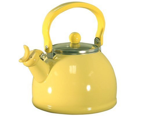 Calypso Basics 2.2-Quart Enamel-on-Steel Whistling Teakettle with Glass Lid, Lemon