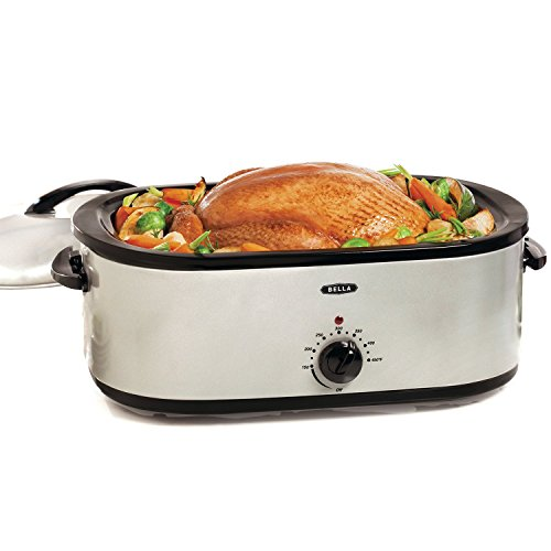 BELLA 18 Quart Turkey Roaster Oven with Roasting Rack, Silver (Roaster Oven Parts compare prices)