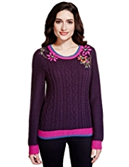 Per Una Floral Embroidered Cable Knit Top