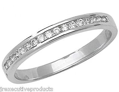 J R Jewellery 408020 9ct White Gold Channel Set Diamond Half Eternity Ring 0.15CTW