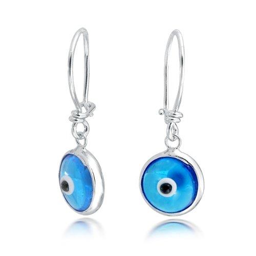 Bling Jewelry Evil Eye Blue Dangle Earrings 925 Sterling Silver