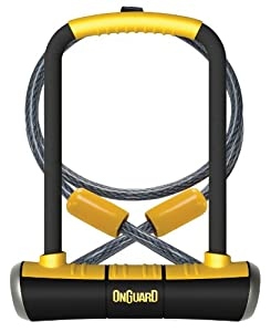 OnGuard Pitbull DT U-Lock with 4-Inch Cinch Loop Cable (Black, 4.53 x 9.06-Inch ) by OnGuard