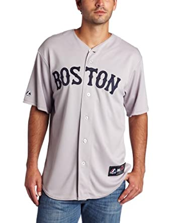 MLB Boston Red Sox Dustin Pedroia Road Gray Replica Baseball Jersey, Road Gray by Majestic