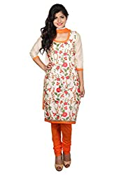 White and Orange Chanderi Emboridered Unstitched Dress Material
