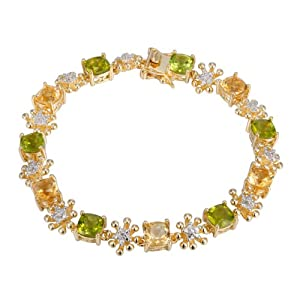18k Yellow Gold Plated Sterling Silver Two-Tone Genuine Citrine and Peridot Tennis Bracelet, 7.25