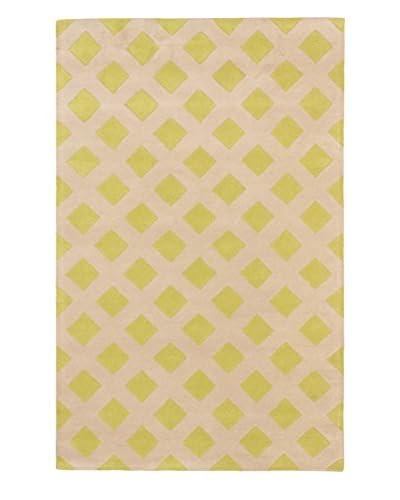 Handmade Eden Wool Rug, Ivory/Light Green, 5' x 8'