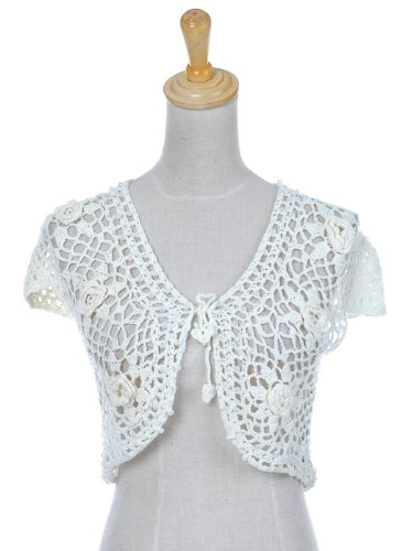 Anna-Kaci S/M Fit Light Off-White Cream Apricot Floral Crochet Mini Crop Shrug